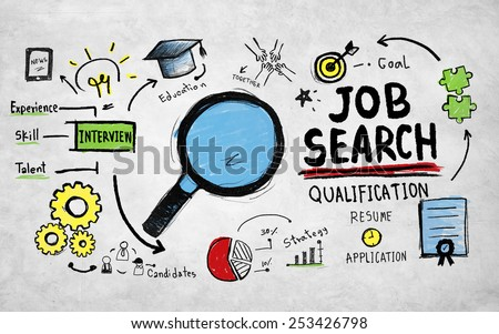 Job Search Qualification Searching Application Concept - stock photo