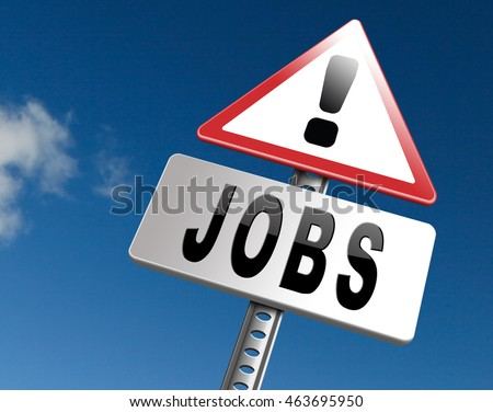 job search vacancy for jobs online job application help wanted hiring now job ad advert advertising road sign billboard 3D illustration