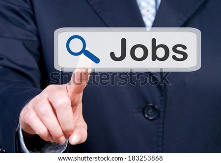 Job Search - woman touching screen - stock photo