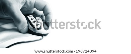 Job-seeker holding a mouse (banner) - stock photo