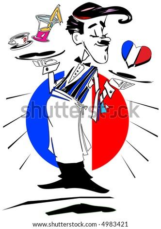 job series -waiter (france) - stock photo