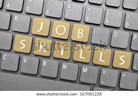 Job skills on keyboard - stock photo