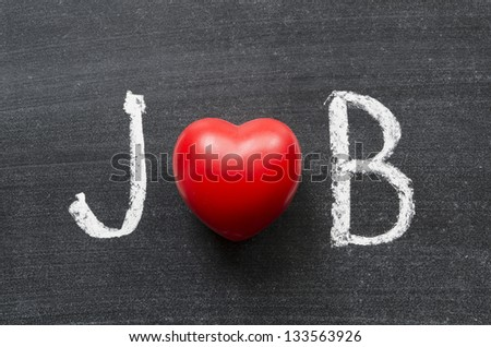 Job word handwritten on chalkboard with heart symbol instead of O