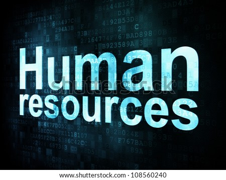 Job, work concept: pixelated words Human resources on digital screen, 3d render - stock photo