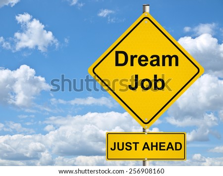 Jobs and recruitment. Yellow road sign on sky background. Raster. - stock photo