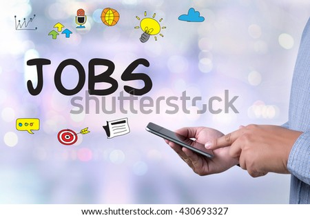 JOBS person holding a smartphone on blurred cityscape background