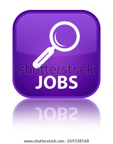 Jobs purple square button - stock photo