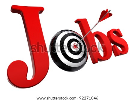 jobs red word and conceptual target with arrow isolated on white background