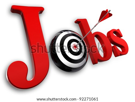 jobs red word and conceptual target with arrow on white background - stock photo