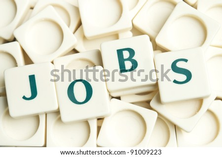 Jobs word made by leter pieces