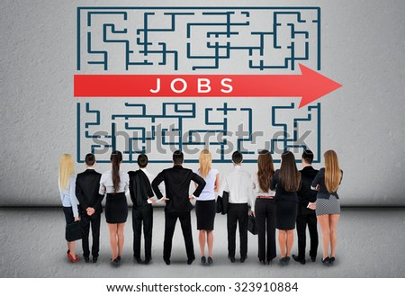 Jobs word maze and business team thinking solution