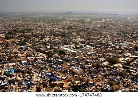 Jodhpur city seen from Mehrangarh Fort, Rajasthan, India - stock photo