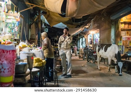 JODHPUR, INDIA - 10 FEBRUARY 2015: Adult man stands on market street next to store talking on phone while cow passes by. - stock photo