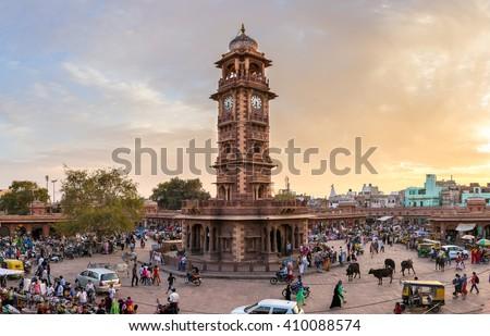 Jodhpur, India - March 7, 2016: Famous victorian Clock Tower in Jodhpur, India - stock photo