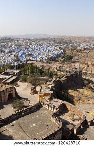 "Jodhpur the ""Blue City and Mehrangarh Fort"" in Rajasthan, India."