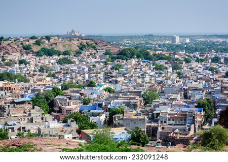 Jodhpur, the blue city as seen from Jaswant Thada, Rajasthan, India - stock photo