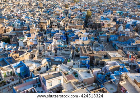 Jodhpur, the Blue City seen from Mehrangarh Fort, Rajasthan, India, Asia - stock photo