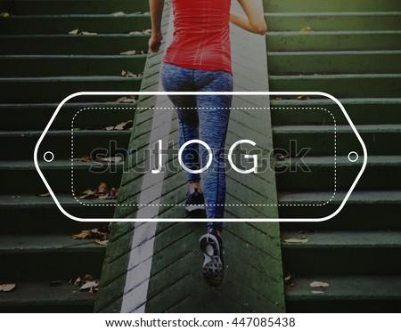 Jog Jogger Jogging Run Rush Active Hurry Exercise Concept - stock photo