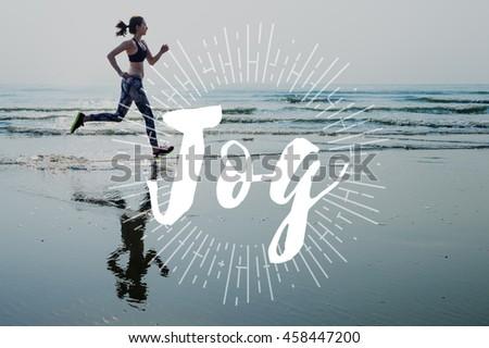 Jog Run Running Jogging Sprint Activity Concept - stock photo