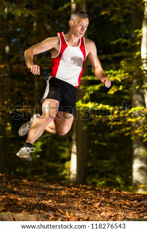 Jogger in trailrunning in a forest