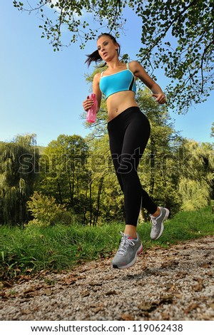 jogging girl - stock photo