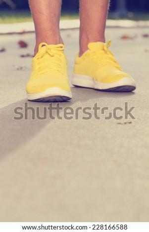 Jogging sneakers detail.  - stock photo