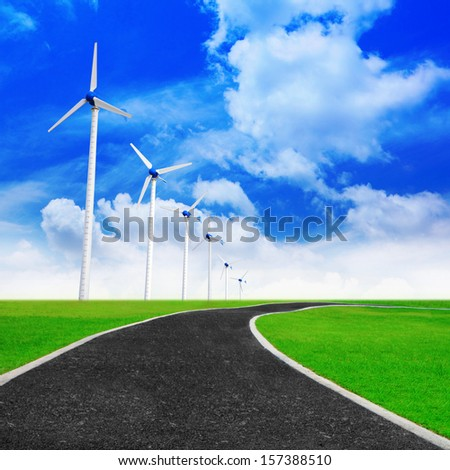 Jogging track with wind turbines generating electricity for green world concept.
