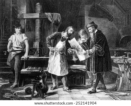 Johann Gutenberg (right) in engraving from 1881 - stock photo