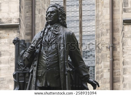 Johann Sebastian Bach Statue in front of St Thomas's Church, Leipzig. He was one of the most famous organist. The artist of the sculpture was Carl Seffner (1861- 1932). He created this in 1908. - stock photo