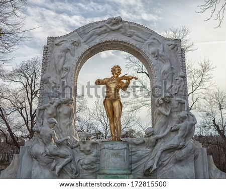 Johann Strauss statue at Stadpark - Vienna, Austria. Shallow depth of field. - stock photo