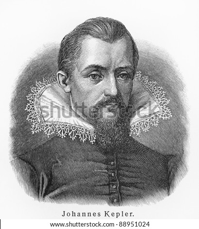 Johannes Kepler -  Picture from Meyers Lexicon books written in German language. Collection of 21 volumes published  between 1905 and 1909. - stock photo