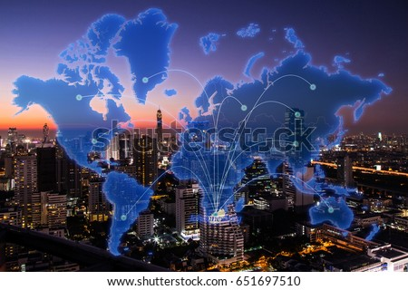 Johannesburg city virtual world map on stock photo download now johannesburg city in virtual world map on cityscape in the night background gumiabroncs Choice Image