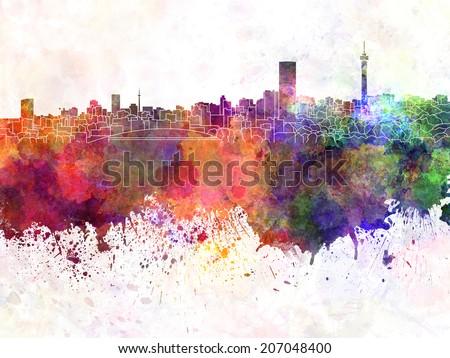 Johannesburg skyline in watercolor background - stock photo