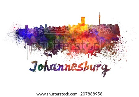Johannesburg skyline in watercolor splatters with clipping path - stock photo