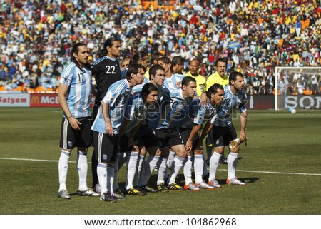 JOHANNESBURG, SOUTH AFRICA - JUNE 17:  The Argentina National Team lines up before a World Cup match June 17, 2010 in Johannesburg, South Africa. - stock photo