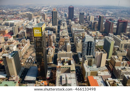 Johannesburg, South Africa - May 18, 2013: The Johannesburg skyline as seen from the Carlton Centre's 50th Floor.