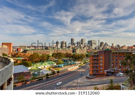 Johannesburg, South Africa - May 25, 2015: View from Ponte Tower unto the skyline of Johannesburg. - stock photo