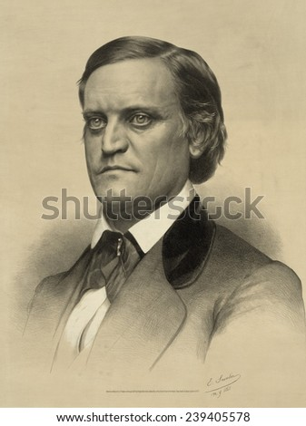 John C. Breckenridge, one of four candidates running for the 1860 presidential election, and split the Democratic vote with Stephen Douglas, hence enabling the victory of Republican Abraham Lincoln. - stock photo