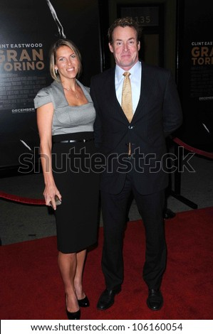 John C. McGinley and wife Nichole   at the World Premiere of 'Gran Torino'. Warner Bros Studios, Burbank, CA. 12-09-08 - stock photo