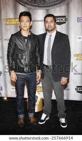 John Cho and Kal Penn at the Spike TV's 'SCREAM 2011' awards held at Universal Studios in Universal City, California on October 15, 2011. - stock photo