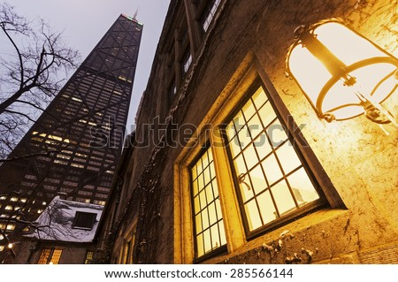 John Hancock Center in downtown Chicago, Illinois, USA - stock photo