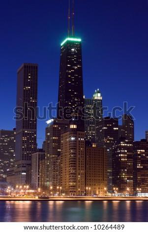John Hancock Tower just after sunset. - stock photo