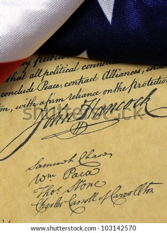 John Hancock - United States of America Constitution and USA Flag - stock photo