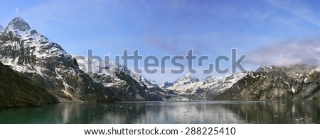 John Hopkins Glacier with Mount Orville and Mount Wilbur in the background, Glacier Bay, Alaska, USA, panorama view