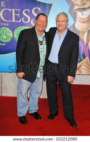 "John Lasseter and Randy Newman at the ""The Princess And The Frog"" World Premiere, Walt Disney Studios, Burbank, CA. 11-15-09 - stock photo"
