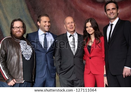 "John Moore, Jai Courtney, Bruce Willis, Yuliya Snigir and Rasha Bukvic at the ""A Good Day To Die Hard"" Mural Unveiling, Fox Studio Lot, Century City, CA 01-31-13"