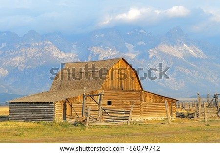 John Moulton Barn and Grand Teton range at sunrise