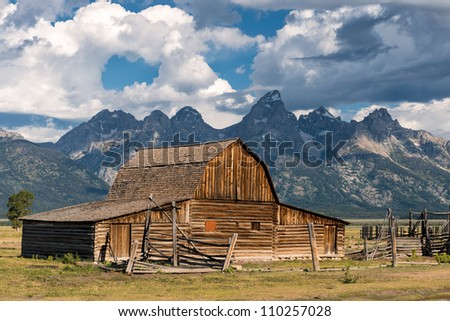 John Moulton barn on Mormon Row in Grand Teton National Park near Jackson, Wyoming - stock photo