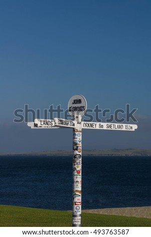 JOHN O' GROATS--AUGUST 18, 2016--The popular signpost of the village John O Groats in northern Scotland. John O Groats marks the longest distance between two inhabited British points, Lands End.