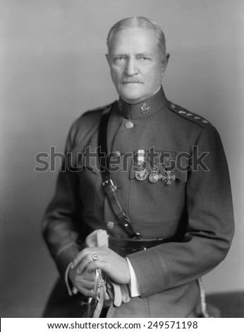 John Pershing, World War 1 commander of the U.S. forces in Europe. Ca. 1918. - stock photo